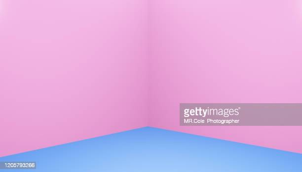3d rendering pink and blue cube shape floor and wall for advertisement,blue backgrounds with copy space - copy space imagens e fotografias de stock