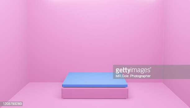 3d rendering pink and blue cube shape stage or podium for advertisement,pink and blue backgrounds with copy space - copy space imagens e fotografias de stock