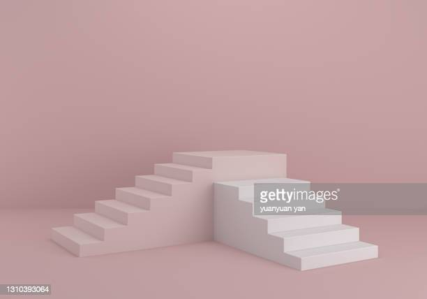 3d rendering product background - staircase stock pictures, royalty-free photos & images