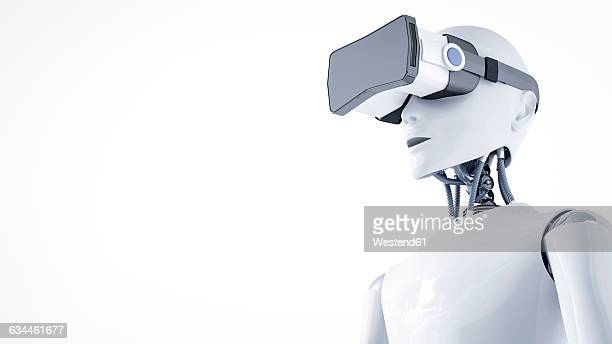 3D Rendering, Roboter with virtual reality glasses