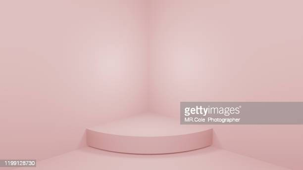 3d rendering shape stage or podium for advertisement,pink backgrounds with copy space - 物の集まり ストックフォトと画像