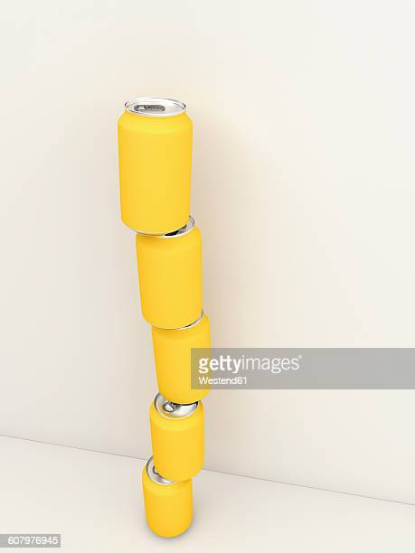3D rendering, Stack of yellow drinking cans