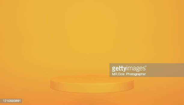 3d rendering yellow gold stage or podium for advertisement,blue backgrounds with copy space - winners podium stock pictures, royalty-free photos & images