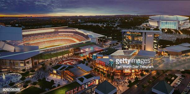 Renderings of the project on display at the press conference on Sept 20 2016 in Arlington Texas Officials held a event updating plans for the $200...