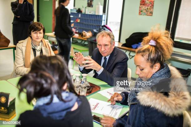 Rendez vous with the politician Francois Bayrou leader of the MoDem party an mayor of Pau on January 27 2017 meeting in a school