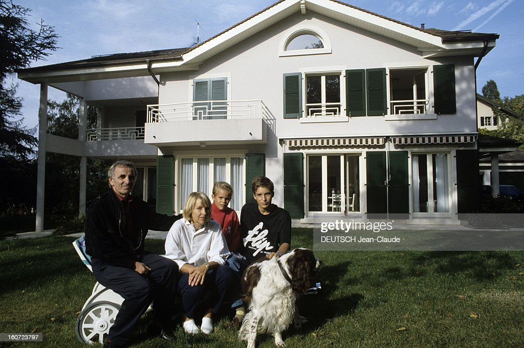 rendezvous with charles aznavour with family in cologny in nachrichtenfoto getty images. Black Bedroom Furniture Sets. Home Design Ideas