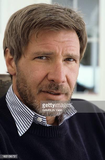 Rendezvous With Harrison Ford At Home Aux Etats Unis le 03 fevrier 1989 portrait avec une barbe de l'acteur Harrison FORD qui vient de tourner dans...