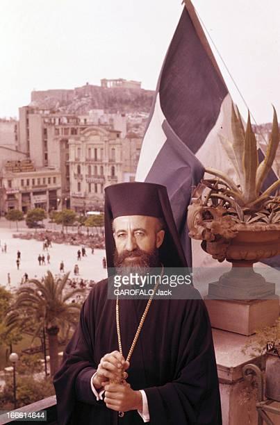 Rendezvous With Makarios Iii A Athènes portrait de l'archevêque et primat de l'Église orthodoxe de Chypre MAKARIOS III sur un balcon dominant une...