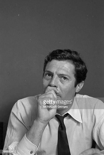 Rendezvous With Marcello Mastroianni. 14 juin 1961- Rendez-vous avce Marcello MASTROIANNI, acteur italien: portrait de l'acteur, l'air songeur, une...
