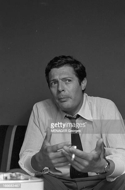Rendezvous With Marcello Mastroianni. 14 juin 1961- Rendez-vous avce Marcello MASTROIANNI, acteur italien: portrait de l'acteur s'exprimant, une...