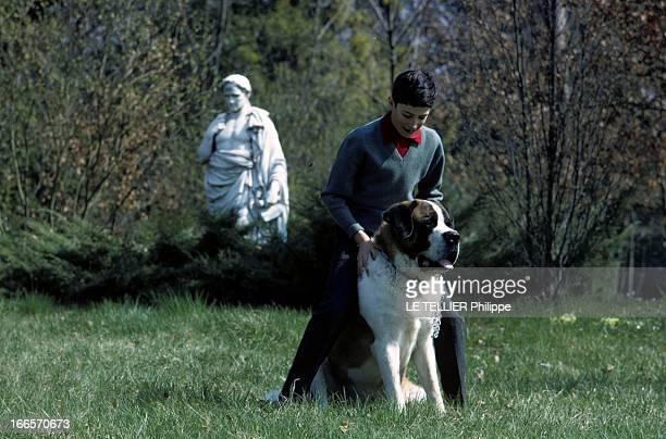 Rendezvous With Prince Louis Napoleon En avril 1968 Jérôme le fils cadet du prince LOUIS NAPOLEON dans un parc avec un chien SaintBernard avec une...