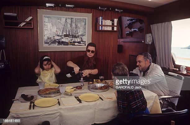 Rendezvous With Prince Rainier Iii Of Monaco With Family Repas en famille à bord du quatrième yacht du prince RAINIER appelé le 'Carostefal' du nom...