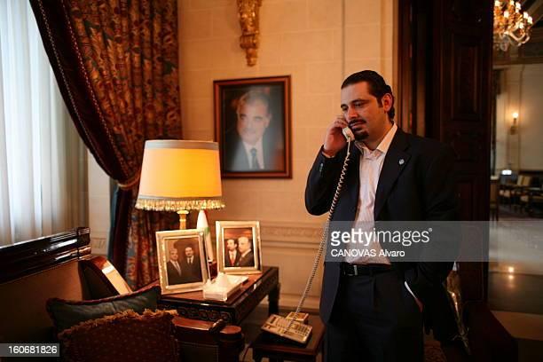Rendezvous With Saad Hariri Saad HARIRI au téléphone dans son palais de Koraytem à BeyrouthOuest Dans la pièce plusieurs portraits de son père Rafic...
