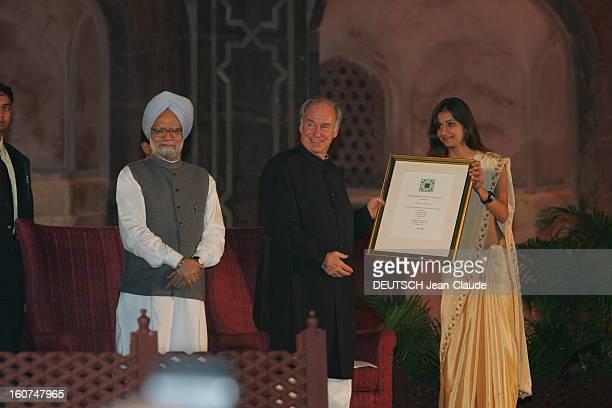 Rendezvous With The Aga Khan In India L'AGA KHAN s'apprêtant à remettre le prix AgaKhan d'architecture 2004 au mausolée d'Humayun à NEW DELHI en...