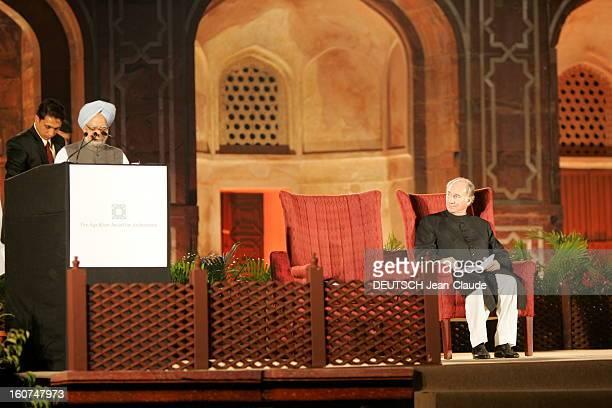 Rendezvous With The Aga Khan In India Le docteur Manmohan SINGH Premier ministre de l'INDE faisant un discours en présence de l'AGA KHAN lors de la...