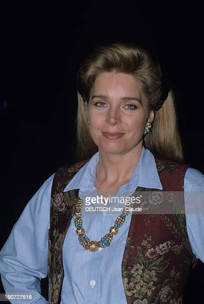 Rendezvous With The Queen Noor Of Jordan Jordanie Février 1991 Au Palais de NADWALISA HALABY portrait de a reine NOOR DE JORDANIE souriant