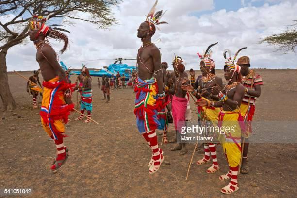 Rendille men in traditional dress. Kenya