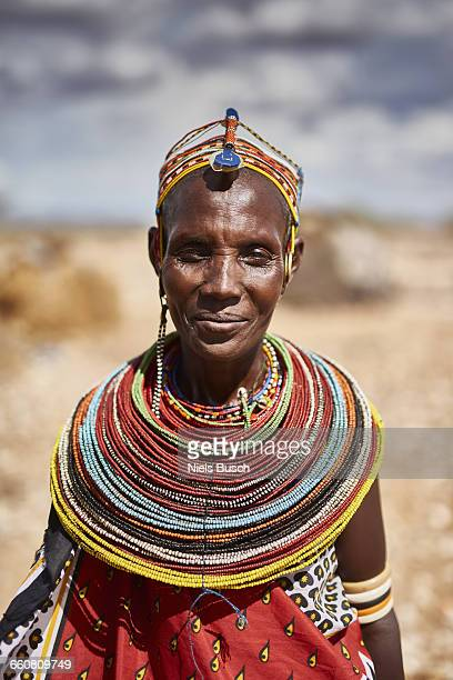 rendille woman portrayed in front of her home - african tribal culture stock pictures, royalty-free photos & images