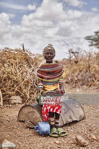 rendille woman portrayed in front of the paddock - african tribal culture stock pictures, royalty-free photos & images