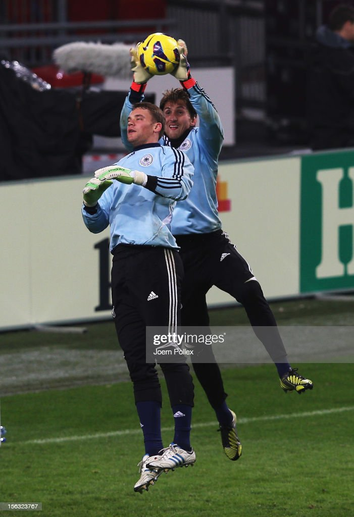 Rene Adler (R) and Manuel Neuer of Germany in action during a training session, on the eve of their friendly international match against the Netherlands, at Amsterdam Arena on November 13, 2012 in Amsterdam, Netherlands.