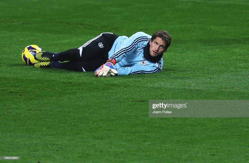 Rene Adler exercises during a training session, on the eve of their friendly international match against the Netherlands, at Amsterdam Arena on November 13, 2012 in Amsterdam, Netherlands.
