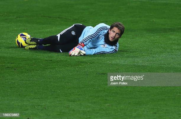Rene Adler exercises during a training session, on the eve of their friendly international match against the Netherlands, at Amsterdam Arena on...