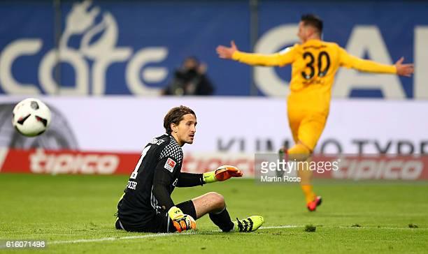Rene Adler goalkeeper of Hamburg reacts after Shani Tarashaj of Frankfurt scores his team's 2nd goal during the Bundesliga match between Hamburger SV...