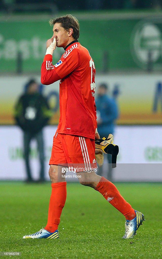 Rene Adler, goalkeeper of Hamburg reacts after the Bundesliga match between VfL Wolfsburg and Hamburger SV at Volkswagen Arena on December 2, 2012 in Wolfsburg, Germany.