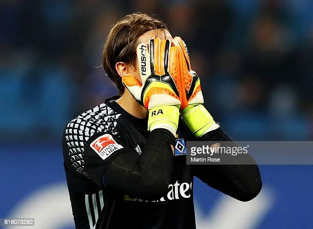 Rene Adler goalkeeper of Hamburg reacts after the Bundesliga match between Hamburger SV and Eintracht Frankfurt at Volksparkstadion on October 21...