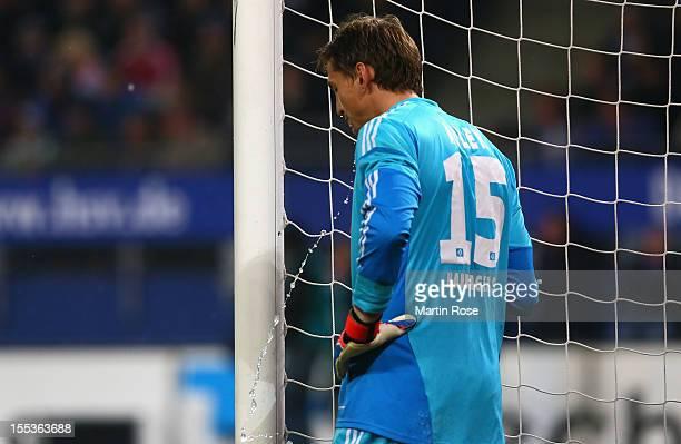 Rene Adler goalkeeper of Hamburg reacts during the Bundesliga match between Hamburger SV and FC Bayern Muenchen at Imtech Arena on November 3 2012 in...