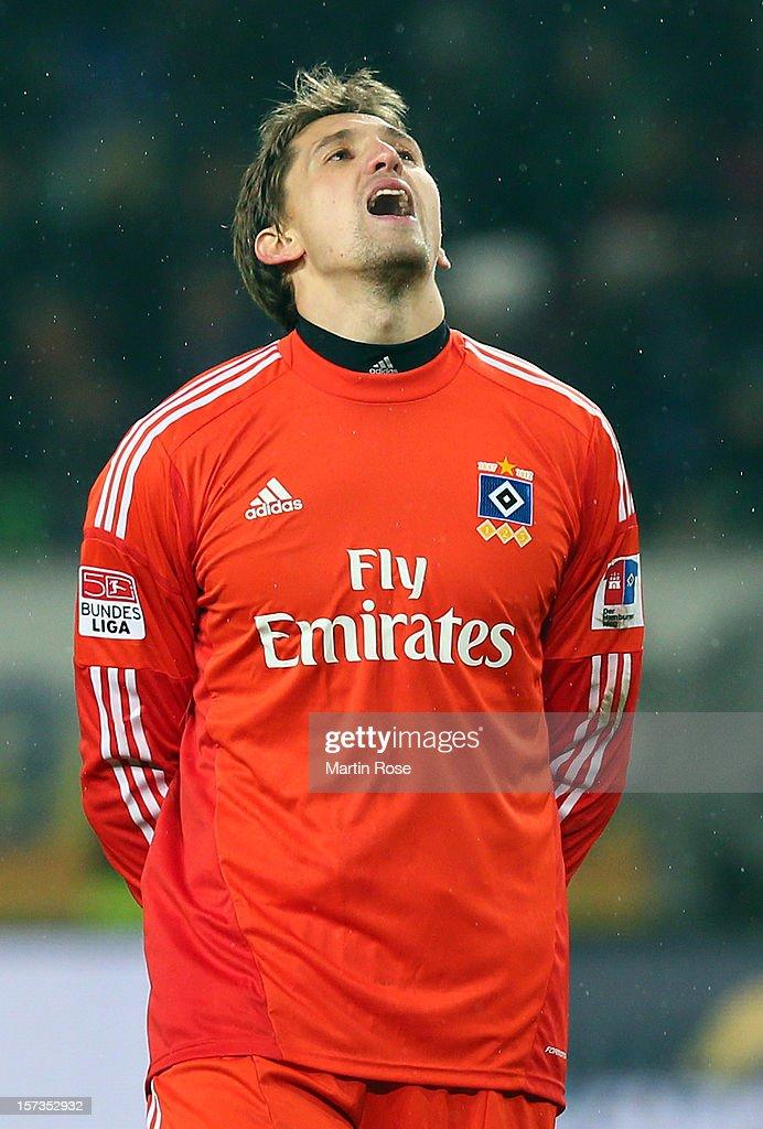 Rene Adler, goalkeeper of Hamburg reacts during the Bundesliga match between VfL Wolfsburg and Hamburger SV at Volkswagen Arena on December 2, 2012 in Wolfsburg, Germany.