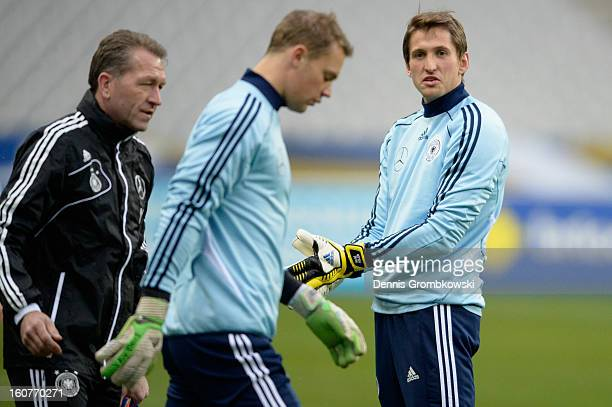 Rene Adler of Germany looks on during a training session ahead of their international friendly match against France at Hotel Concorde La Fayette on...