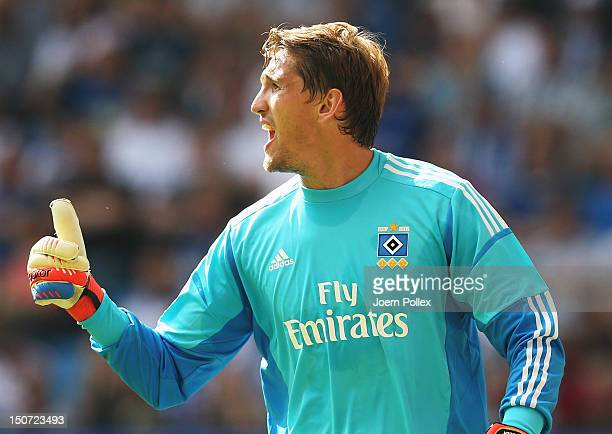 Rene Adler of Hamburg gestures during the Bundesliga match between Hamburger SV and 1 FC Nuernberg at Imtech Arena on August 25 2012 in Hamburg...