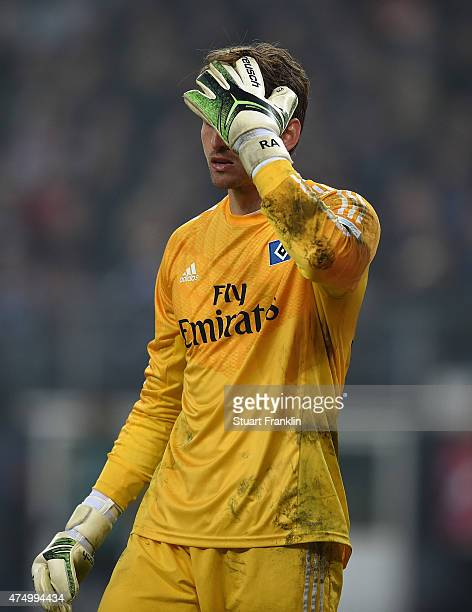 Rene Adler of Hamburg looks dejected during the first leg of the Bundesliga playoff match between Hamburger SV and Karlsruher SC at the Imtech arena...