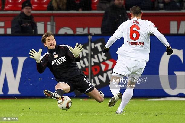 Rene Adler of Leverkusen saves a shot of Du-Ri Cha of Freiburg during the Bundesliga match between Bayer Leverkusen and SC Freiburg at the BayArena...