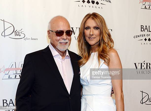 Rene Angelil and Celine Dion arrive at the 'Veronic Voices' Premiere at Bally's Las Vegas on June 28 2013 in Las Vegas Nevada