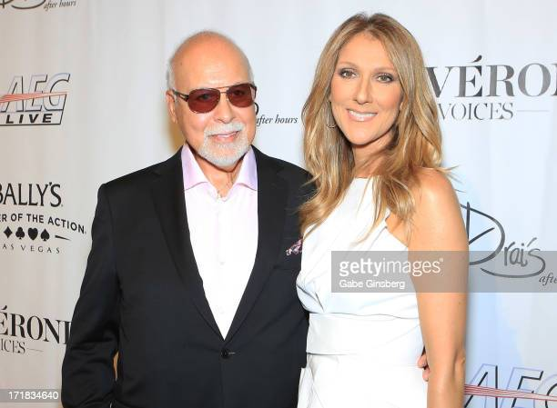 Rene Angelil and singer Celine Dion arrive at the premiere of the show 'Veronic Voices' at Bally's Las Vegas on June 28 2013 in Las Vegas Nevada