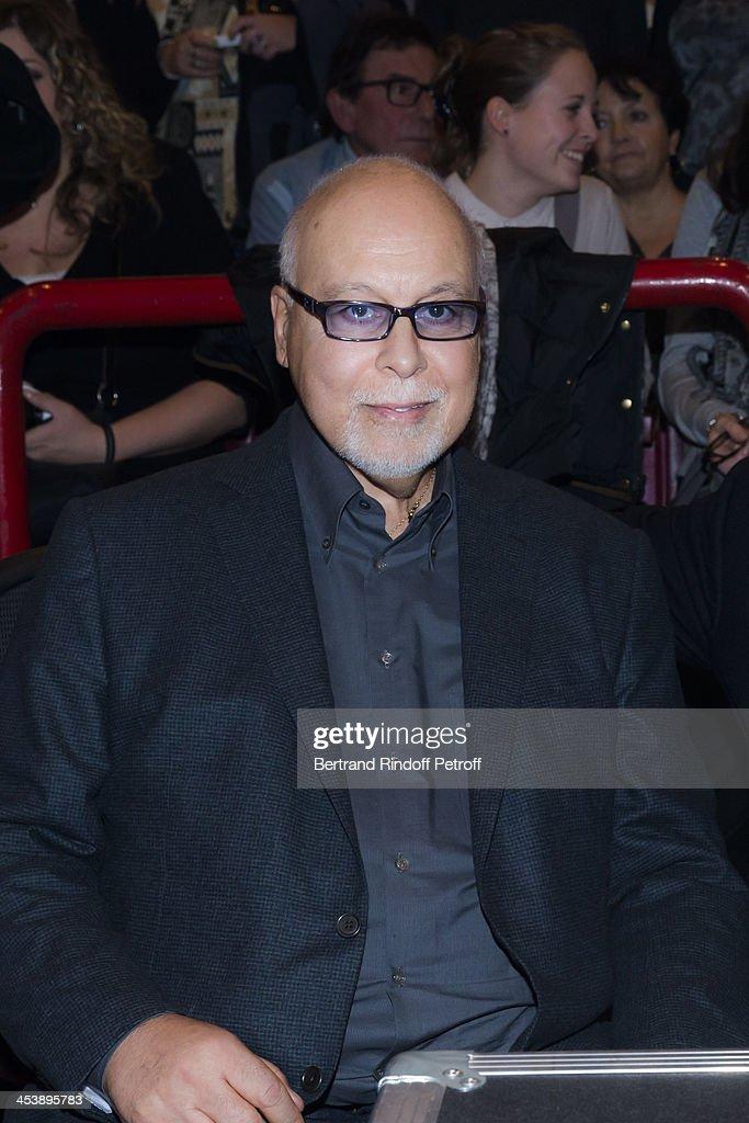 Rene Angelil, the husband and manager of singer Celine Dion attending Celine Dion's Concert at Palais Omnisports de Bercy on December 5, 2013 in Paris, France.