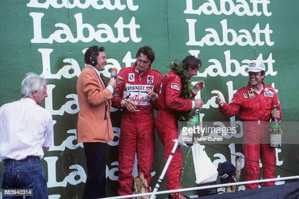 Rene Arnoux, Eddie Cheever, Patrick Tambay, Grand Prix of Canada, Circuit Gilles Villeneuve, 12 June 1983. Rene Arnoux celebrating his victory in the...