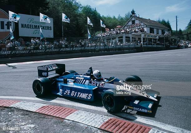Rene Arnoux of France drives the Gitanes Equipe Ligier Ligier JS27 Renault V6 turbo during the Belgian Grand Prix on 25 May 1986 at the...