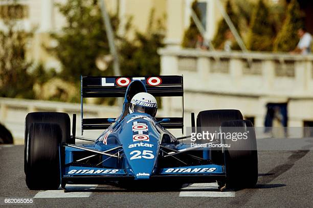 Rene Arnoux of France drives the Ligier Loto Ligier JS33 Ford Cosworth DFR V8 during practice for the Grand Prix of Monaco on 6 May 1989 on the...