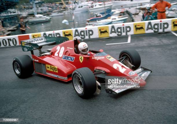 Rene Arnoux of France, driving a Ferrari 126C2B with a Ferrari V6 engine for Scuderia Ferrari, enroute to placing second during the Monaco F1 Grand...