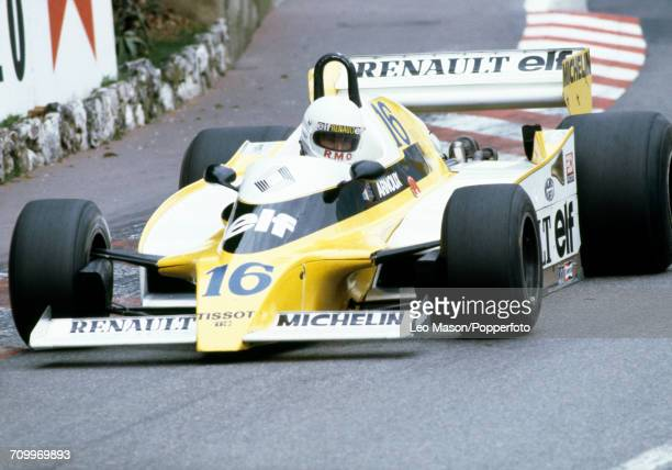 Rene Arnoux of France, driving a Renault RS10 with a Renault V6 engine for Equipe Renault Elf, in action during the Monaco F1 Grand Prix in Monte...