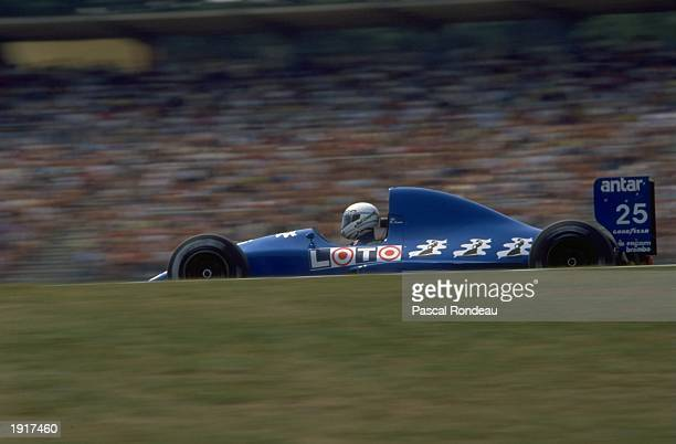 Rene Arnoux of France in action in his Ligier Cosworth during the West German Grand Prix at the Hockenheim circuit in West Germany Arnoux finished in...