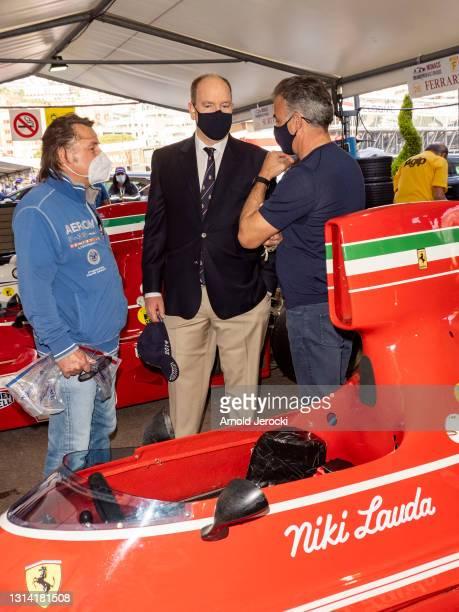Rene Arnoux, Prince Albert II of Monaco and former formula 1 driver Jean Alesi attend the 12th edition of the Historic Monaco Grand Prix on April 24,...