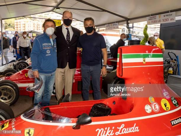 Rene Arnoux, Prince Albert II of Monaco and former formula 1 driver Jean Alesi attends the 12th edition of the Historic Monaco Grand Prix on April...