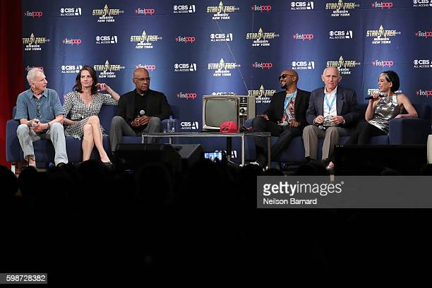 Rene Auberjonois Terry Farrell Michael Dorn Cirroc Lofton Armin Shimerman and Nana Visitor speak on stage at 'The Star Trek Deep Space Nine From The...