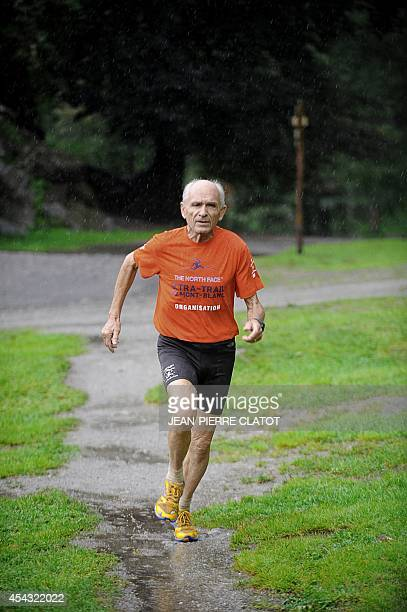 Rene Bachelard President of the association of UltraTrail du MontBlanc's competitors trains on August 26 2014 in Chamonix before taking part in the...