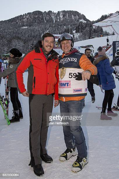 Rene Benko and Tobias Moretti pose for a picture during the KitzCharityTrophy on January 21 2017 in Kitzbuehel Austria