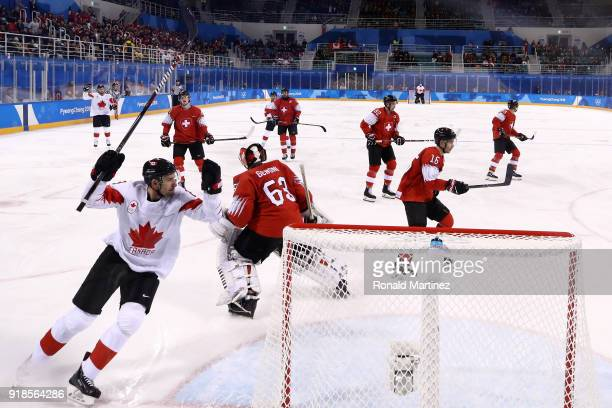 Rene Bourque of Canada scores a goal against Switzerland during the Men's Ice Hockey Preliminary Round Group A game on day six of the PyeongChang...